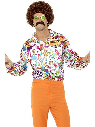 Smiffy's 60's Groovy Hippie Costume Shirt Adult Mens Retro Peace Love Fancy Dress LG-XL