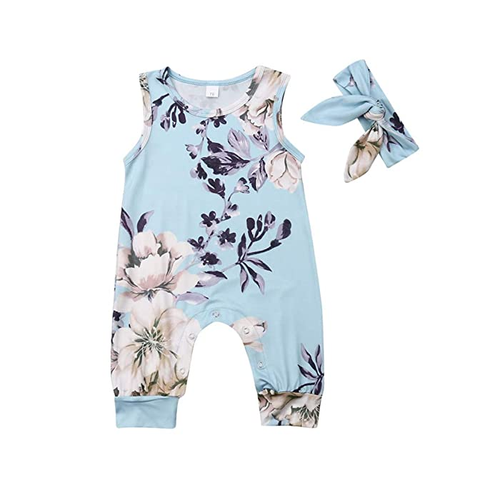 Wang-RX Infant Baby Girl Floral Romper sin Mangas Mono Trajes Ropa ...