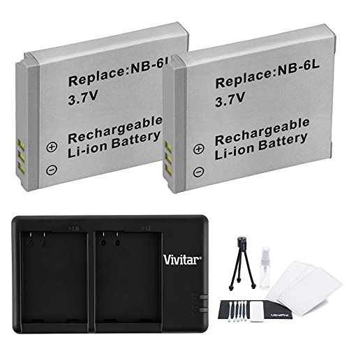 2-Pack NB-6L, NB-6LH High-Capacity Replacement Battery with Rapid Dual Charger for Select Canon Cameras - UltraPro Bundle Includes: Camera Cleaning Kit, Camera Screen Protector, Mini Travel Tripod (Battery High Kit Capacity)
