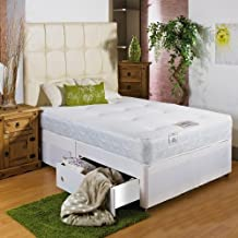 Hf4you White Memory Soft Divan Bed - 3ft Single - No Drawers - 20 Cream Faux Leather Headboard by Hf4you