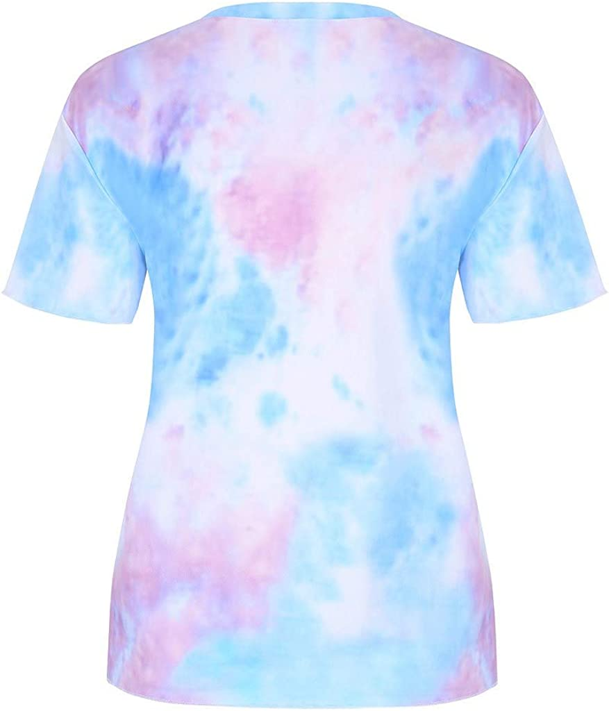 Tie-Dye Short Shirt Rave Outfit Crop Tops Round Neck T-Shirt Womens Blouse Fashion Streetwear Pullover