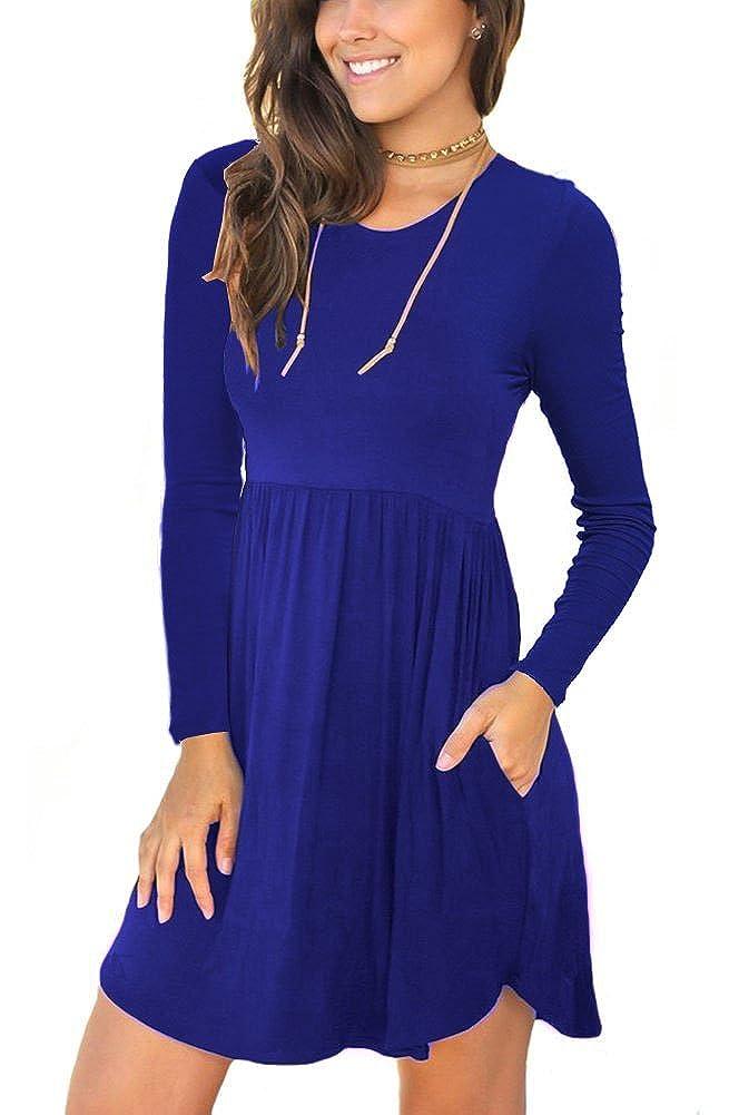 06 Royal bluee Neineiwu Women's Long Sleeve Loose Plain Dresses Casual Short Dress with Pockets
