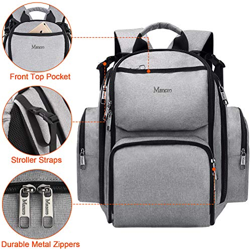 Diaper Bag Backpack, Large Multifunction Waterproof Baby Nappy Changing Bags for Dad Mom with Insulated Pockets, Changing Pad, Storller Straps, Mancro Travel Gear Child Carrier for Boys Girls,Grey