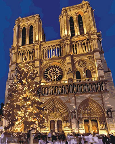 Paint by Numbers, May Trees DIY Oil Painting Paint by Numbers Set Home Wall Decor Festival Gift - Notre Dame de Paris 16x20 inch Canvas Digital Oil Painting for Adults Beginner (Frameless) - Frameless Oil Painting Set