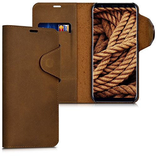 kalibri Genuine Leather Wallet Case for Samsung Galaxy S8 Plus – Case with pocket and stand in brown