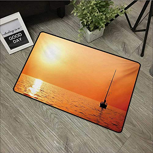 (Meeting Room mat W35 x L47 INCH Sailboat,Lonely Yacht at Sunset Sailing Competition Race Teamwork Marine Vessel Winner,Orange Yellow with Non-Slip Backing Door Mat Carpet)