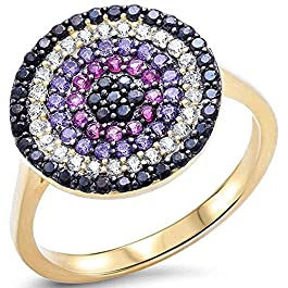 Princess Kylie Multi-Color Cubic Zirconia Rounded Disc Ring Gold-Tone Plated Sterling Silver