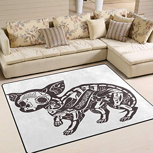 Ars Language Area Rugs Skeleton Chihuahua Puppy Dog Day of The Dead Nursery Rugs for Kids Bedroom Livingroom Non-Slip Floor Rugs Carpet 5'3