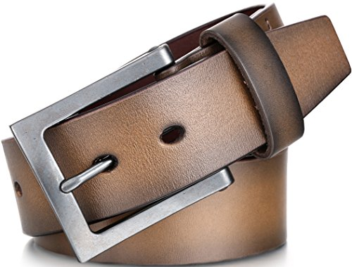(Marino Avenue Men's Genuine Leather Belt, Classic Jean Style, 1.5