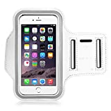 "MoKo Armband for iPhone 6s Plus / 6 Plus, Sweatproof Sports Armband Running Arm Band for iPhone 6S Plus, 6 Plus, Samsung S8 Plus, S7 Edge, Note 4 / 5, J7, BLU, White (Fits Arm Girth 9""-12.6"")"