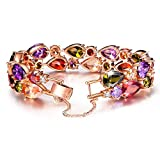 """QIANSE """"Mona Lisa"""" Rose Gold Plated Brass Bracelet with Cubic Zirconia, 7.3 inches, Jewelry for Women"""
