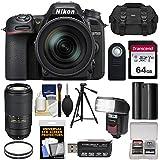 Nikon D7500 Wi-Fi 4K Digital SLR Camera & 16-80mm VR DX with 70-300mm AF-P VR Lens + 64GB Card + Battery + Case + Tripod + Flash + Filters Kit