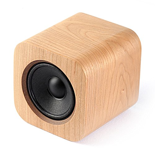 Sugr Cube Minimalist Speaker Elegant Design and Accurate Sound Bluetooth 4.0 Compatible with iPhone, iPad, Samsung and Charge with USB,Works with Echo Dot (Vintage Cherry Wood) 51GUEyA8yHL