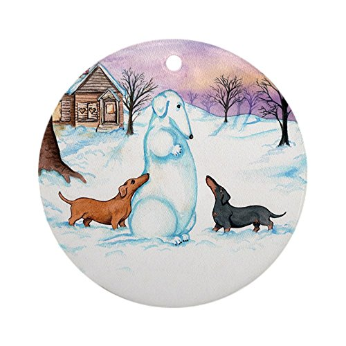 CafePress Snow Dachshunds Ornament (Round) Round Holiday Christmas Ornament ()