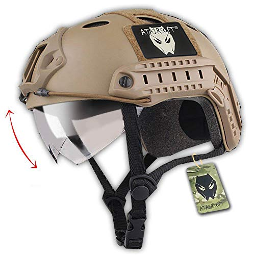 ATAIRSOFT PJ Type Tactical Multifunctional Fast Helmet with Visor Goggles Version DE]()