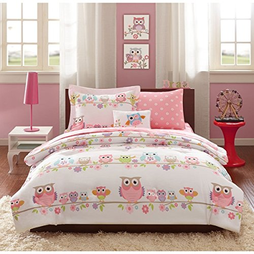 Beautiful And Adorable Fun Girls Full 8-piece Bed In A Bag With Sheet Set Lovely Pink Owl Animal Pattern Vibrant Flowers Punch Of Color Super Cute Soft Polyester Fabric Warm Comfy Kids Girly Bedding
