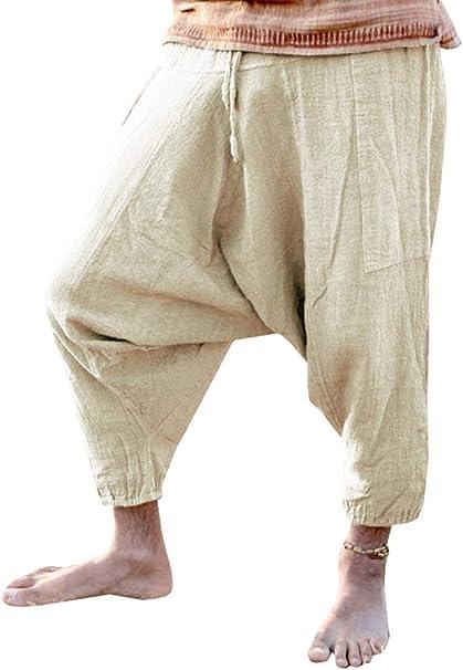 Amazon.com: Pantalones de tobillo para hombre con cordón ...