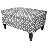 MJL Furniture Designs Brooklyn Collection Large Upholstered Living Room Lift Top Storage Ottoman, Fulton Series, Storm