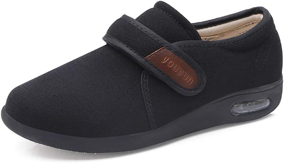 PXQ Zapatos para Caminar para Hombres Zapatillas de Deporte amplias y Anchas con Cojines de Aire Anchos para la Fascitis Plantar, ortopédicos, juanetes, diabéticos,Negro,46