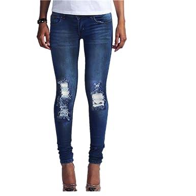 8cc05fca81fd Hffan Damen Loch Hose Zerrissen Jeans Risse am Knie High Waist Jeanshose  Skinny Hüftjeans Damen Jeanshose