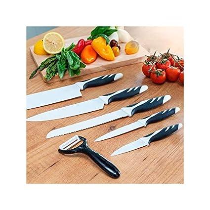 Cecotec Set de 6 Cuchillos Profesionales suizos, Color Negro ...