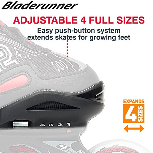 Bladerunner by Rollerblade Phoenix Boys Adjustable Fitness Inline Skate, Black and Silver, Junior, Value Performance Inline Skates by Bladerunner (Image #5)