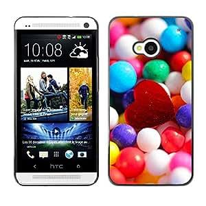 TopCaseStore / la caja del caucho duro de la cubierta de protección de la piel - Candy Heart - HTC One M7