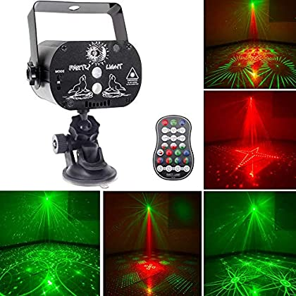 U`King Party Laser Lights with 3 Lens LED Projector Stage Light by Sound Activated Remote Control for DJ Disco Strobe…