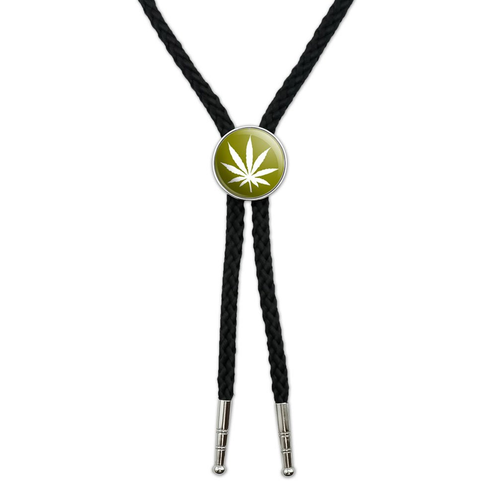 Olive Western Southwest Cowboy Necktie Bow Bolo Tie Marijuana Leaf