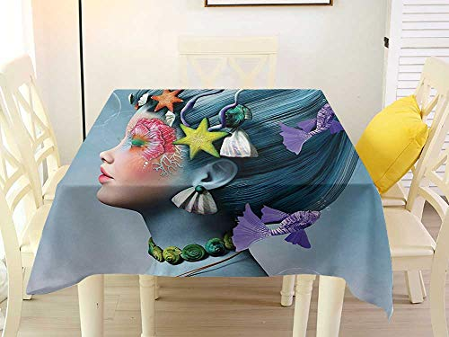 L'sWOW Square Tablecloth Washable Mermaid Woman with Underwater Themed Make Up Hairstyle Starfishes Seashells Fishes Bubbles Multicolor Retro 70 x 70 Inch