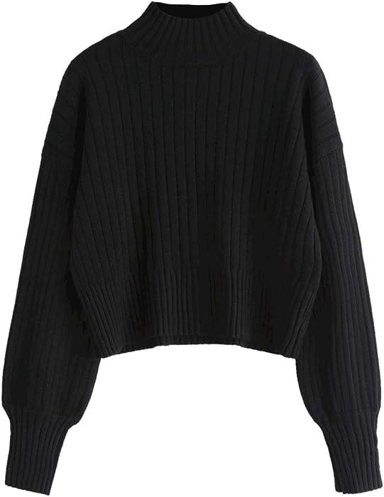 6583720b2 ZAFUL Women Drop Shoulder Mock Neck Pullover Sweater Long Sleeve ...