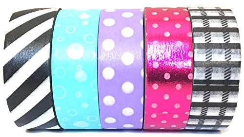 Washi Tape by L'artisant - Premium Quality Set of 5 Rolls with Beautiful Patterns. (Hard candy) (Candy Foil Roll)