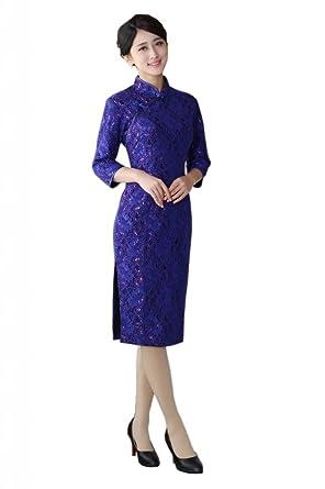JTC Ladies 3 4 Sleeve Chinese Traditional Dress Gown Women Lace Velvet  Qipao Cheongsam Evening b8f5134d4b89