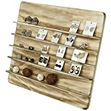Torched Wood 5 Tier Retail Jewelry Showcase Rack, Countertop Small Merchandise Display Stand