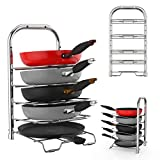 Premium Quality Height Adjustable Pan Pot Organizer Rack by ULFR 5 Tier Chrome Finish Steel Kitchen Cookware Holder Counter Storage Wall Mountable