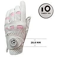 Women's Leather Golf Glove with Ball Marker Extra Grip Value Pack, Left Right Hand Pink Fit Woman Girl, Size Small Medium Large XL, By Finger Ten