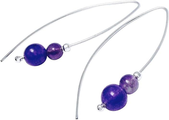 Handmade Purple Amethyst Long Hook Drop Earrings Sterling Silver Long Dangle Hook Two Size Amethyst Beads