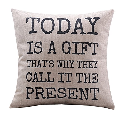 """Create For-Life Cotton Linen Decorative Pillowcase Throw Pillow Cushion Cover Today is a Gift Square 18"""""""