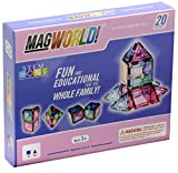 MagWorld Toys Magnetic Construction Pastel Colors-20 Piece Set. Create 2D and 3D Shapes, Figures & Architecture.. STEM Play Age 3 and Up.
