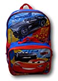 "Disney Pixar Cars Lightning McQueen 16"" Backpack W/ Detachable Lunch Box"