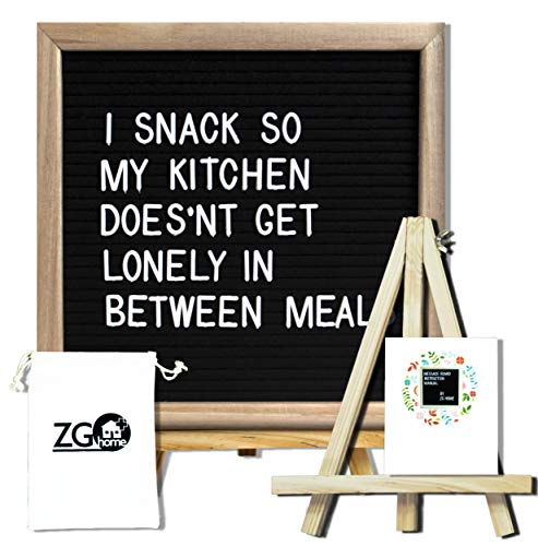 Black Felt Letter Board with 678 Letters, Numbers, Emojis and Symbols,10X10 Inches Changeable Oak Frame Message Board with Mount Hanger, Stand and Canvas Bags by ZG-Home