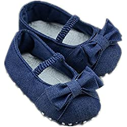 DZT1968® Baby Girl Soft Sole Denim Colth Shoes Prewalker With Bowknot (0~6 Months Baby)