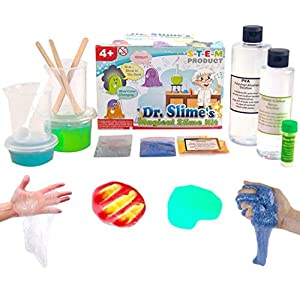Dr. Slime's Magical Slime Kit - The Ultimate DIY Slime Making Kit - Slime Supplies to Make Glow in the Dark, Clear, Glitter and Color Changing Slime - Slime Containers Included