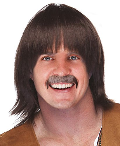 o Hippie Wig and Mustache Costume Set Sonny Wig ()