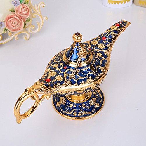 (NEWQZ Aladdin Magic Lamp Handicrafts, European Style Retro Alloy Wishing Lamp Ornaments Tabletop Display, Home Decor )