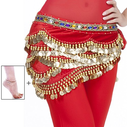 Mutreso Belly Dance Hip Scarf with 328 Gold Coins 150cm Colorful Gem Belt Profession Velvet Performance Skirt Hip Wrap (Red Belly Dancing Costume)