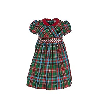 1940s Children's Clothing: Girls, Boys, Baby, Toddler Girls Holiday Plaid Short Sleeve Dresss $56.00 AT vintagedancer.com