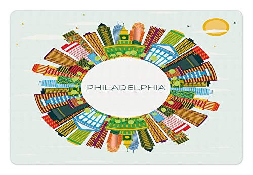 Lunarable Philadelphia Skyline Pet Mat for Food and Water, Graphic of Abstract Circular Frame Order Colorful Buildings Print, Rectangle Non-Slip Rubber Mat for Dogs and Cats, Multicolor