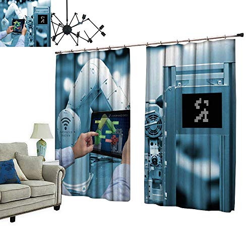 PRUNUS Room Darkening Curtain with Hooked h Tablet Perform ce Check Screen  Software Blue Tone Thermal Insulated Blackout Window Curtain,W84 3 xL96 5