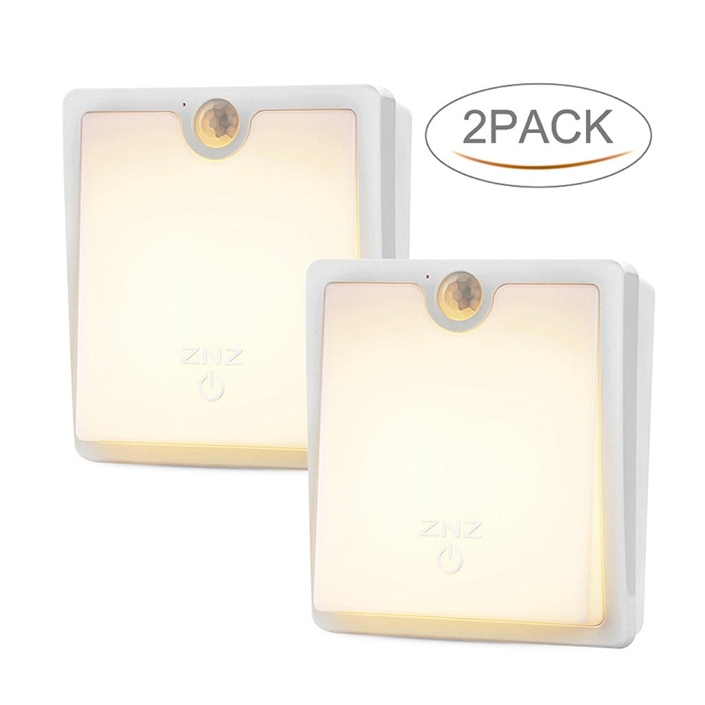 LED Motion Sensor Wall Light - Smart Lights LED Night Light Cordless Battery Powered Lamp Stair Closet Cabinet Light for Hallway Bathroom Bedroom Kitchen Pack of 2 ( Warm Light )